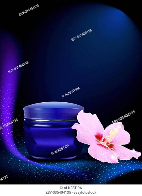 blue jar of cream with delicate flowers on the blue background