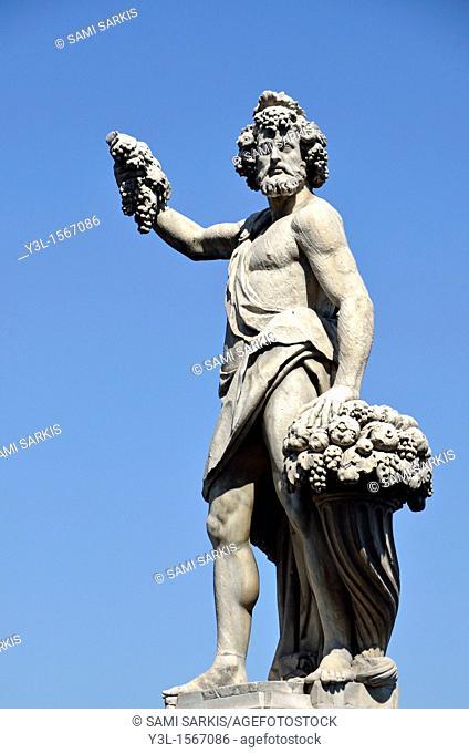 Statue on Ponte Santa Trinita, Florence, Tuscany, Italy
