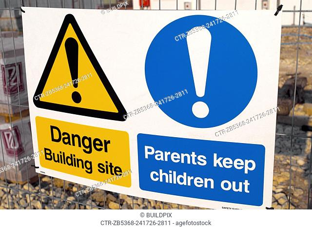 Safety Sign at Construction Site, UK