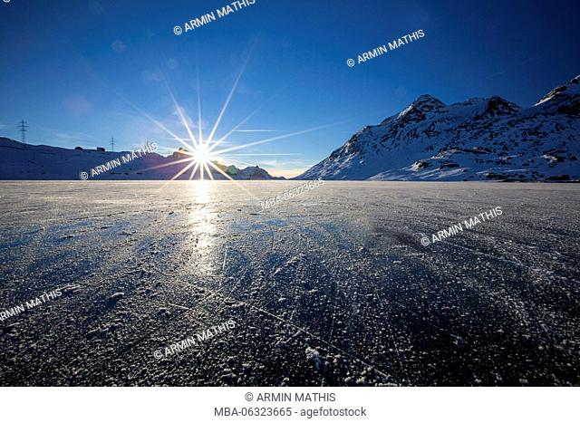 Black ice on the Lago Bianco in Canton of Grisons