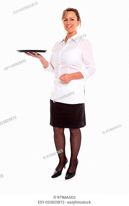Full length photo of a waitress holding an empty tray, isolated on a white background. Suitable product placement image to add your own item