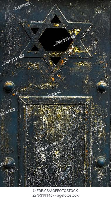 detail of historic metal door showing the star of david, paris, ile de france, france