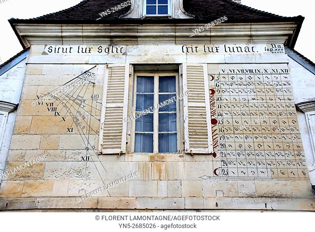 France, medieval sundial of Chateau castle of Beru in Yonne departement in Burgundy known for it famous Chablis wine