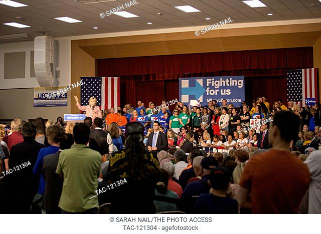 Hillary Clinton rallies before Califorina primary to become the democratic nominee in her race towards the presidency on May 25, 2016 in Buena Park, California