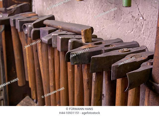 Bavaria, Germany, Europe, Upper Bavaria, Berchtesgaden area, craft, smith, smiths, Teisendorf, workshop, forge, smith's hammer, hammer, tools