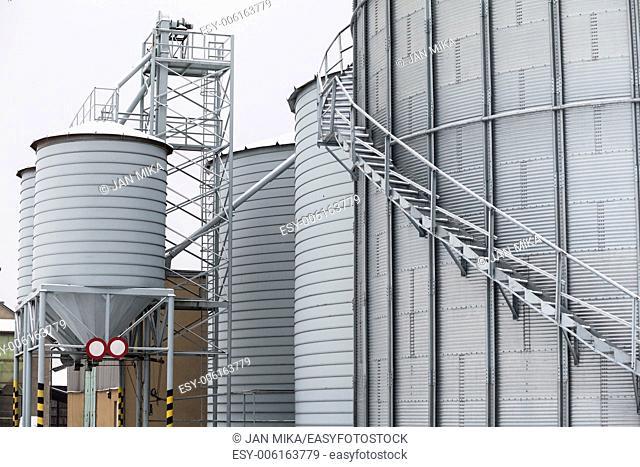 Exterior detail of storage grain silos