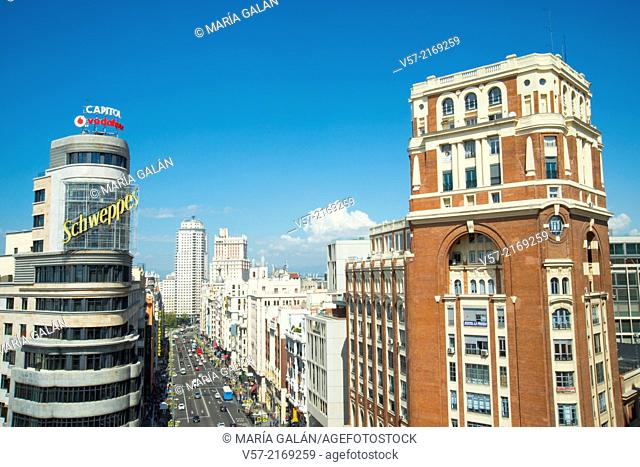 Capital and Palacio de la Prensa buildings. Gran Via, Madrid, Spain