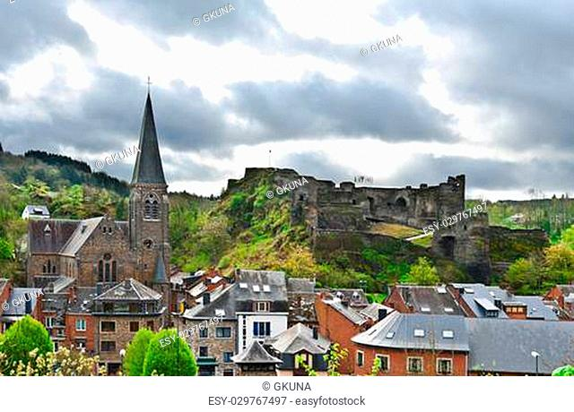 View of the Church and the Castle in the Belgian City of La Roche