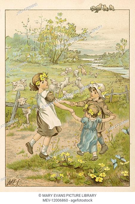 Three little children dance in a ring whilst holding hands, as fluffy lambs frolic in a nearby meadow