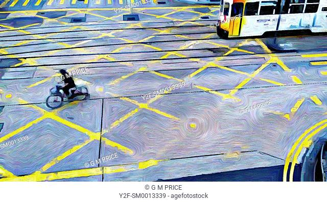 painting filter view of cyclist and tram, Central, Hong Kong