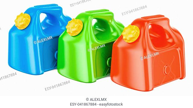 set of colored plastic jerrycans, 3D rendering isolated on white background