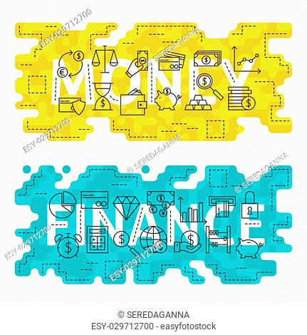 Money Finance Outline Flat Concept. Vector Illustration of Thin Line Banking and Business Banner for Website and Web