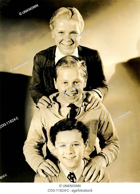 Actors Mickey Rooney, Freddie Bartholomew and Jackie Cooper