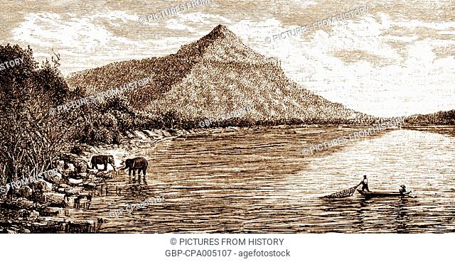 Cambodia: The Phou Molong peak, located southeast of Phnom Penh, 1866