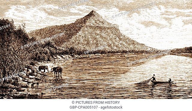 Cambodia: The Phou Molong peak, located southeast of Phnom Penh, 1866