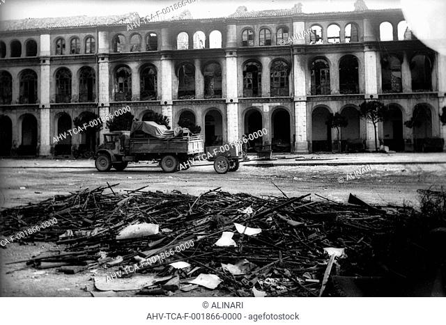 The building of the military district of Campobasso devastated by the Germans, shot 1943 by Trombetta, Alfredo