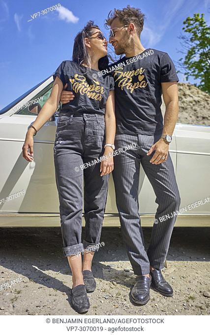 Couple at luxus oldtimer. Turkish ethnicity. High society. Bloggers Adem Bayalan and Emine Feruz Bayalan. Bavaria, Germany