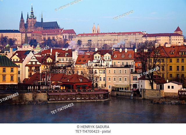 View over Vltava River towards Prague Castle in early morning