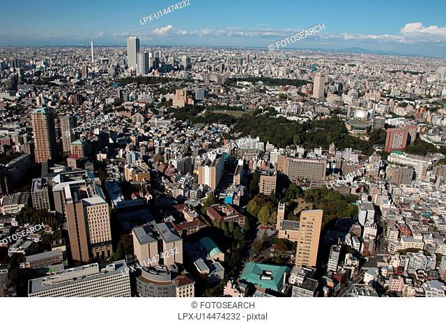 Aerial view of Waseda University, Shinjuku ward, Tokyo Prefecture, Honshu, Japan