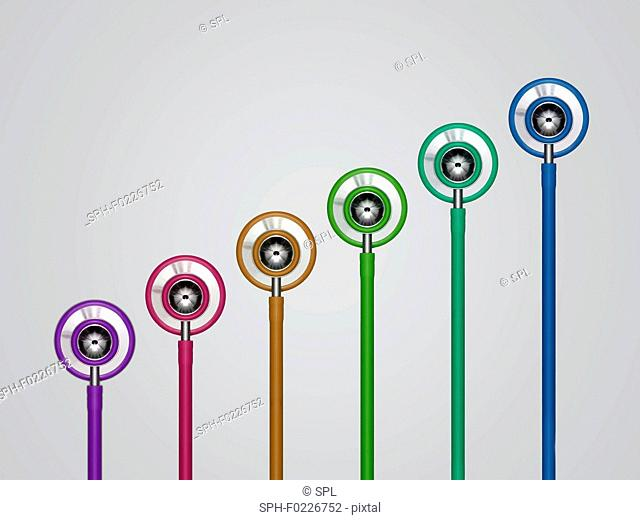 Multicoloured stethoscopes in a row