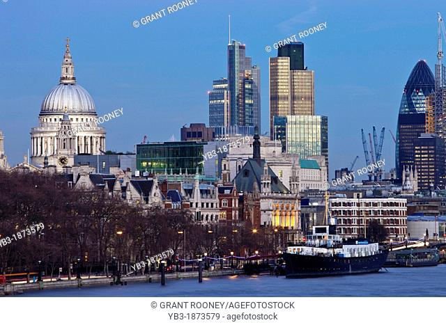 London Skyline From Waterloo Bridge, London, England