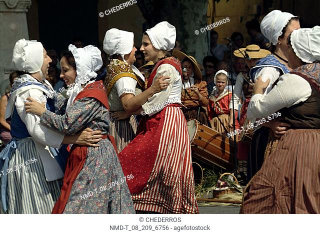 Close-up of female dancers dancing, Provence, France