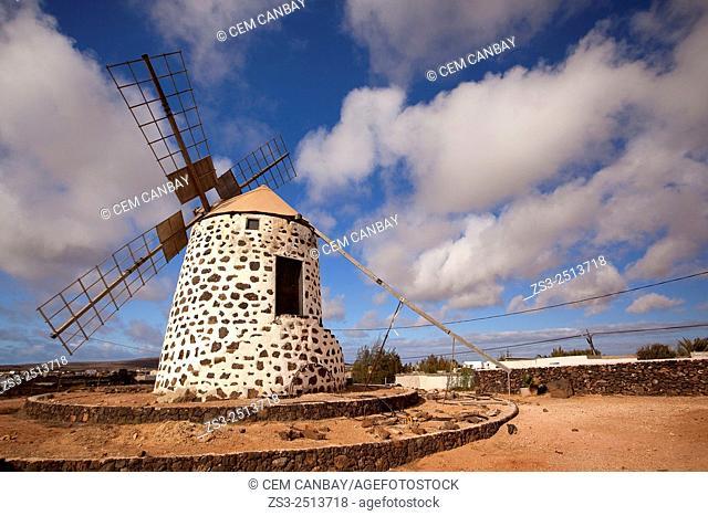 Windmill near Tefia, La Oliva, Fuerteventura, Canary Islands, Spain, Europe