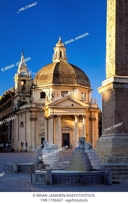 Early morning at Chiesa di Santa Maria dei Miracoli in Rome, Lazio Italy