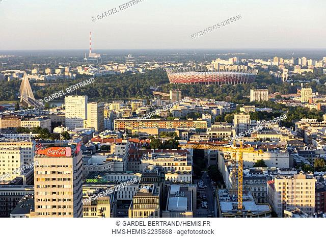 Poland, Mazovia region, Warsaw, New City and the National Stadium