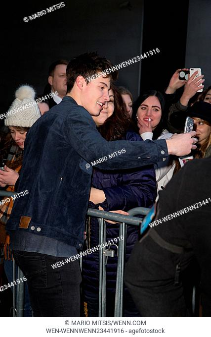 Shawn Mendes pictured leaving the Radio 1 studio after performing on the Live Lounge Featuring: Shawn Mendes Where: London