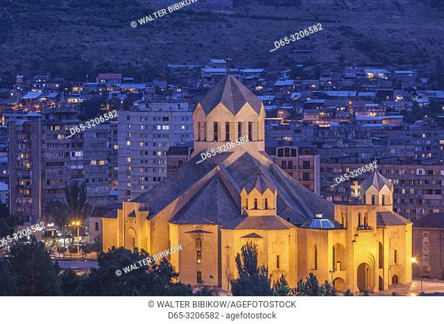 Armenia, Yerevan, Surp Grigor Lusavorich Cathedral, exterior, high angle view, dusk