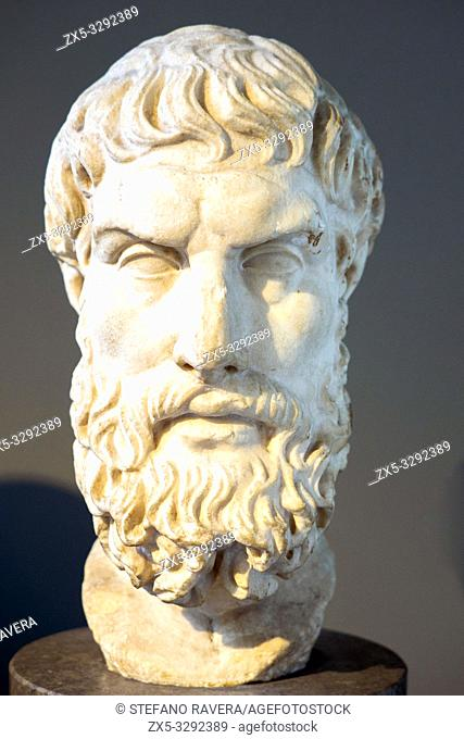Marble head of Epikouros (c. 342/1 - 271/0 BC) founder of the Epicurean School. Roman copy after a lost Greek original of the third or second century BC
