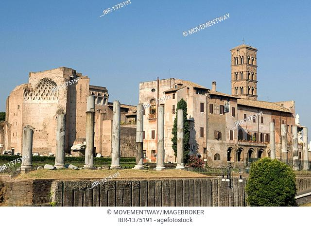 Church of Santa Francesca Romana and the Temple of Venus and Roma in the Forum Romanum, Rome, Italy, Europe