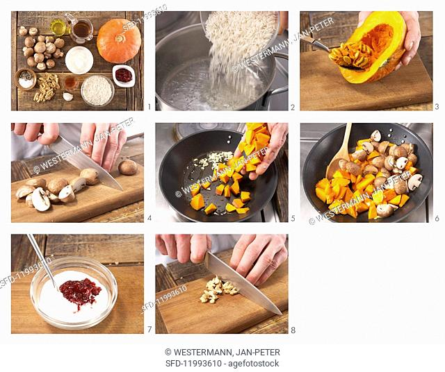 How to prepare rice with pumpkin and mushrooms