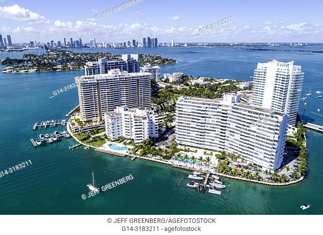 Florida, Miami Beach, Biscayne Bay, aerial overhead bird's eye view above, Belle Isle, high rise condominium buildings, Belle Plaza Condominium, Belle Towers