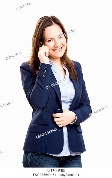 Business woman holding and working with a tablet, isolated over a white background