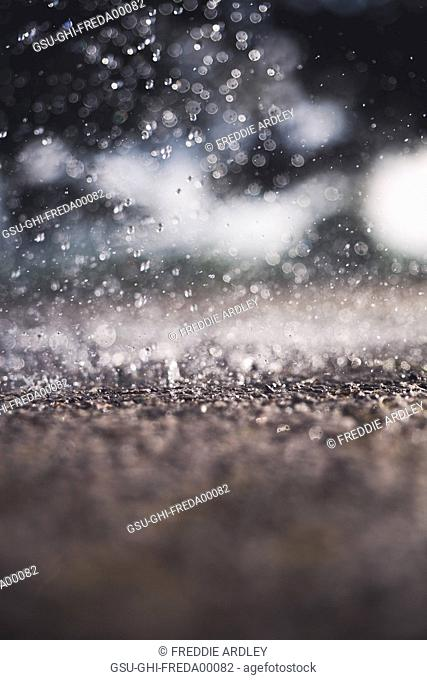 Rain Hitting Ground, Close-Up