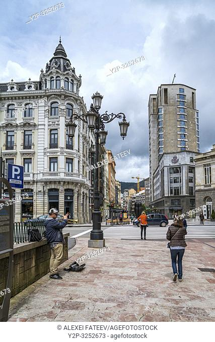 Street scene in Oviedo, Asturias, Spain