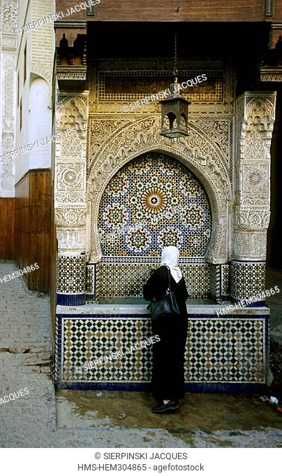 Morocco, Middle Atlas, Fez, Imperial City, medina listed as World Heritage by UNESCO, Fez el Bali District, Nejjarine Fountain