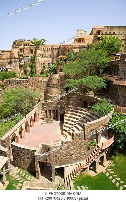 High angle view of a fort, Neemrana Fort Palace, Neemrana, Alwar, Rajasthan, India