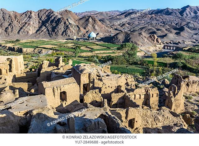 Mud bricked buildings in old, abandoned part of Kharanaq village in Ardakan County, Yazd Province, Iran