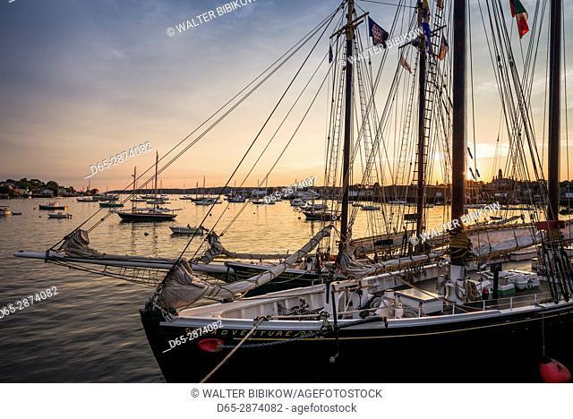 USA, Massachusetts, Cape Ann, Gloucester, America's Oldest Seaport, Gloucester Schooner Festival, schooners, dusk