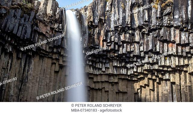 Iceland, Skaftafell National Park, Ring Road, Svartifoss, basalt columns