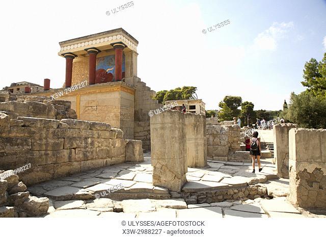 North entrance, north pillar hall, Knossos palace archaeological site, Crete island, Greece, Europe