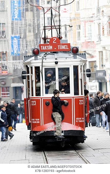 Istanbul  Turkey  Tram on Istiklal Caddesi