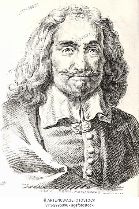 Portrait of Thomas Hobbes, philosopher - French engraving - 18th century