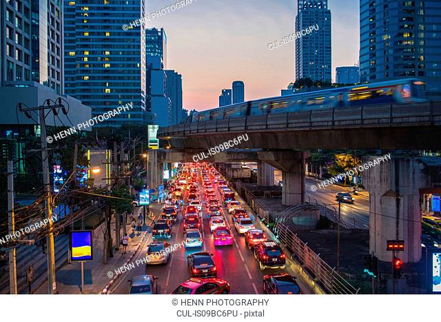 Rush hour at Sathorn business area in Bangkok, Bangkok Metropolis, Krung Thep, Thailand