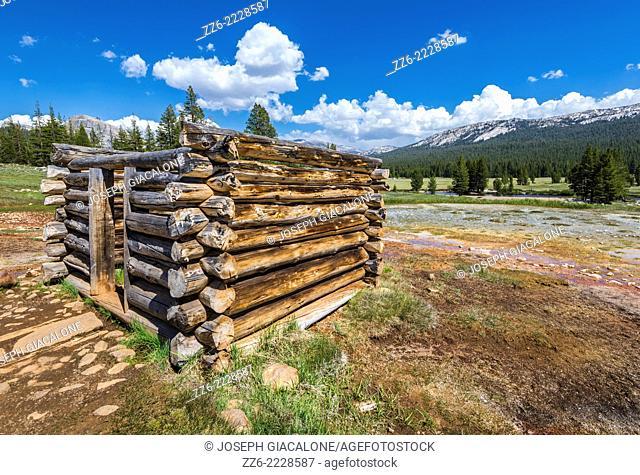 The wooden enclosure at Soda Springs. Yosemite National Park, California, United States