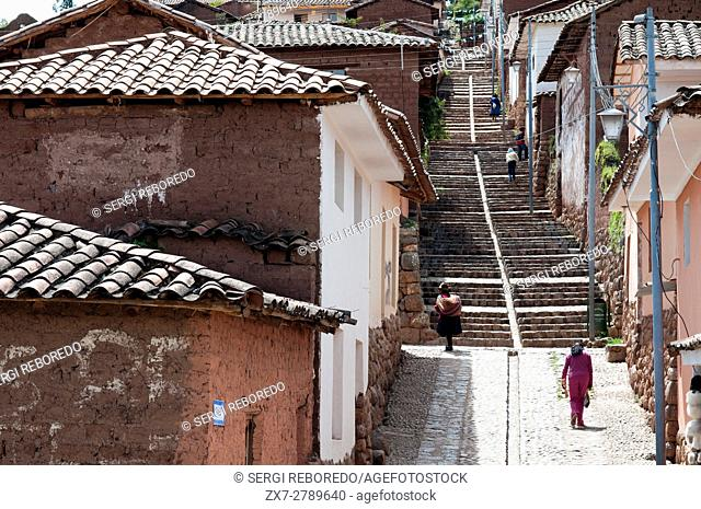 Steep streets in the small village of Chinchero in the Sacred Valley near Cuzco. Chinchero is a small Andean Indian village located high up on the windswept...