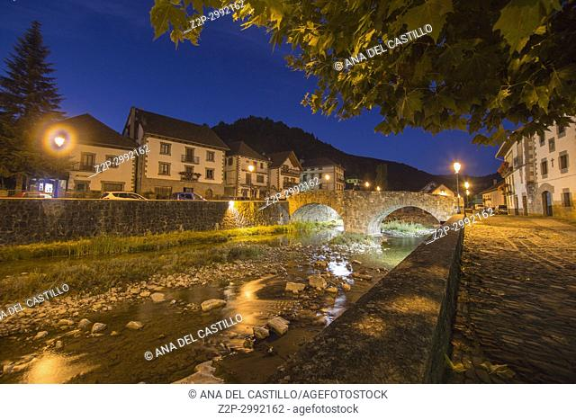 Nightscape in the picturesque village of Ochagavía, right in the middle of Navarre's Eastern Pyrenees, Spain